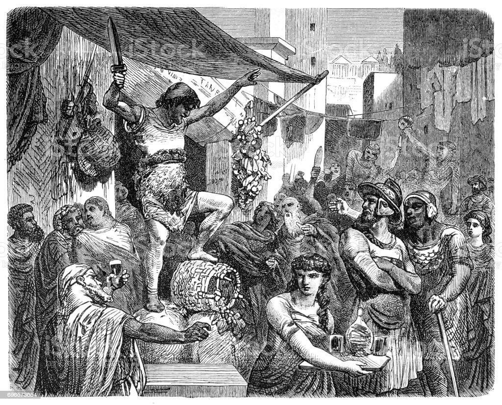 Scene in the streets of Ancient Rome vector art illustration