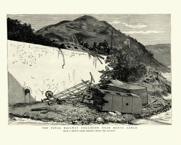 bildbanksillustrationer, clip art samt tecknat material och ikoner med plats av en järnväg olycka, kollision nära monte-carlo, 1886 - derail