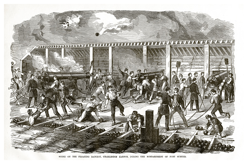 Scene on the Floating Battery, Charleston Harbor, During the Bombardment of Fort Sumter Civil War Engraving