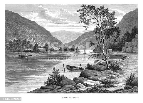 Very Rare, Beautifully Illustrated Antique Engraving of Scene on the Ramapo River, New Jersey, United States, American Victorian Engraving, 1872.