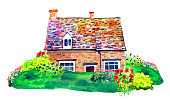 Scene with countryhouse and plants on the lawn. Watercolor old stone Europe house. Hand drawn illustration