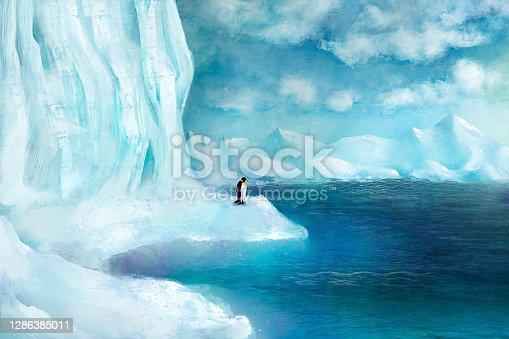 istock Scenery of a snowy coastal environment – digital painting/illustration 1286385011