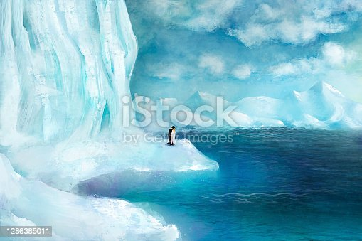 istock Scenery of a snowy coastal environment – digital painting/illustration 1286385011