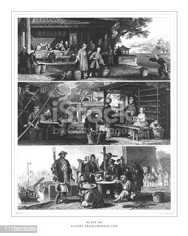 Scenes from Chinese Life Engraving Antique Illustration, Published 1851. Source: Original edition from my own archives. Copyright has expired on this artwork. Digitally restored.
