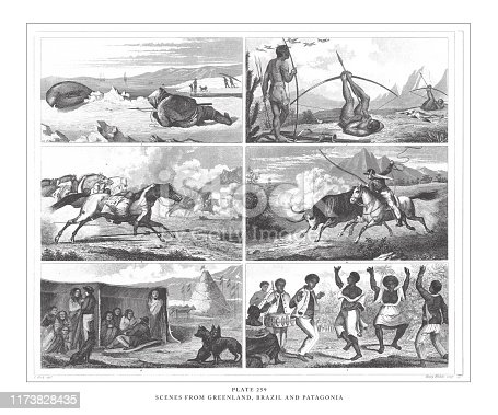 Scenes from Greenland, Brazil and Patagonia Engraving Antique Illustration, Published 1851. Source: Original edition from my own archives. Copyright has expired on this artwork. Digitally restored.