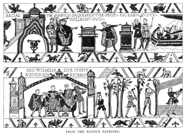 """Scenes from the Bayeux Tapestry - Victorian engraving Two scenes from the Bayeux Tapestry. The Tapestry is actually an embroidered length of cloth rather than a tapestry and measures around 70 metres. It portrays the events leading up to the Norman conquest of England by William, Duke of Normandy, who overcame Harold, King of England at the Battle of Hastings in 1066. It contains around seventy scenes, though the last section is missing. From """"French Pictures: Drawn With Pen and Pencil"""" by the Rev. Samuel G. Green, D.D. Published by The Religious Tract Society, London, 1878. tapestry stock illustrations"""