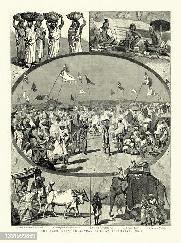 istock Scenes from the Magh Mela (Magha mela), Allahabad, India, 1888, 19th Century 1331599869