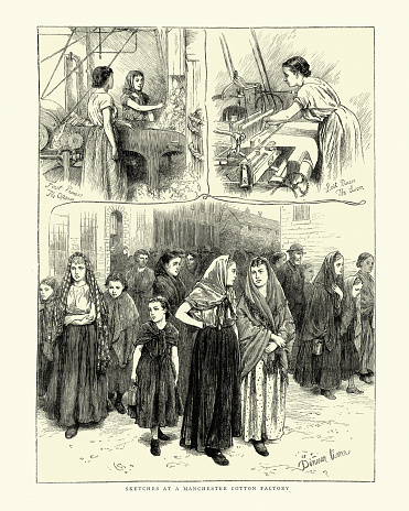 Scenes in a Manchester Cotton factory, Girl and women working at looms, 1870s