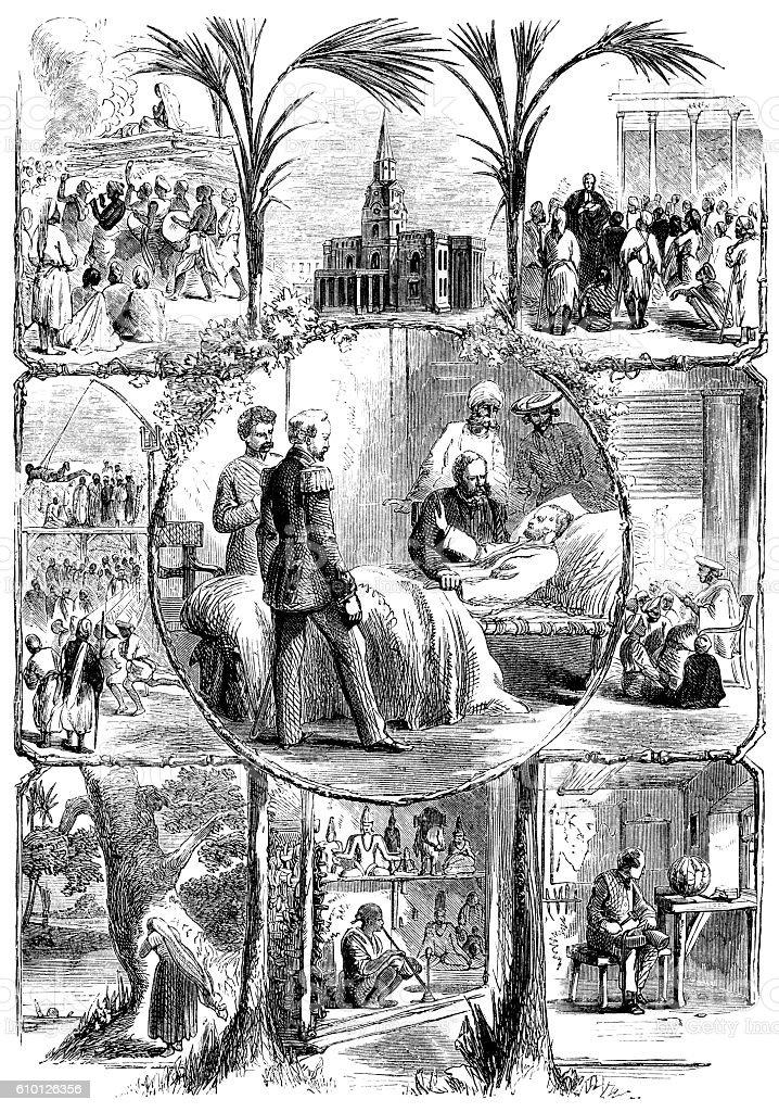 Scenes in Victorian India vector art illustration