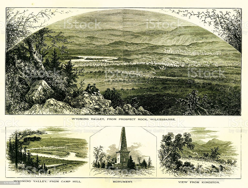 Scenes in Wyoming Valley, Pennsylvania royalty-free stock vector art