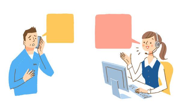 オペレーターとお客様が電話で話しているシーン - オペレーター 日本人点のイラスト素材/クリップアート素材/マンガ素材/アイコン素材