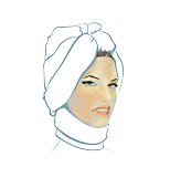 Scenic fashion closeup portrait of a girl in a  decorative scarf on a white background
