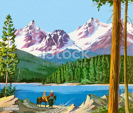 istock Scenic Mountains And People on Horses 132075598