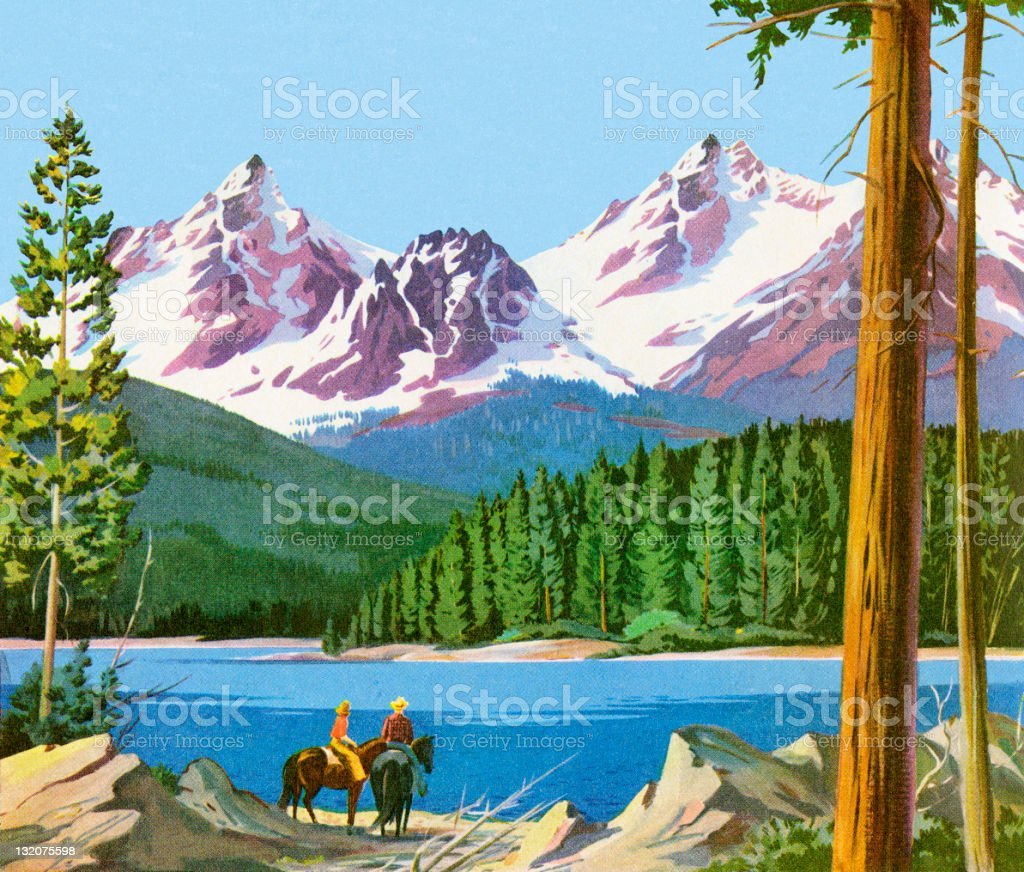 Scenic Mountains And People on Horses vector art illustration