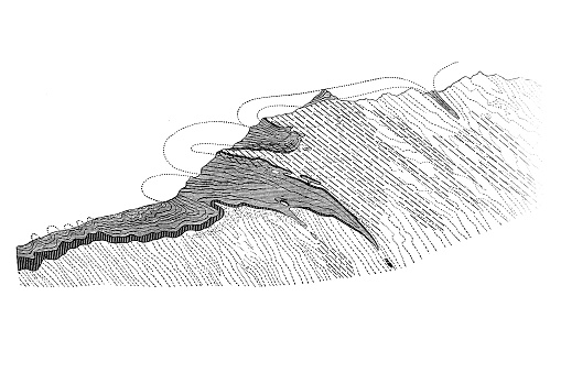 """Schematic profile of the """"limestone wedges"""" in the gneiss of the Bernese Oberland"""
