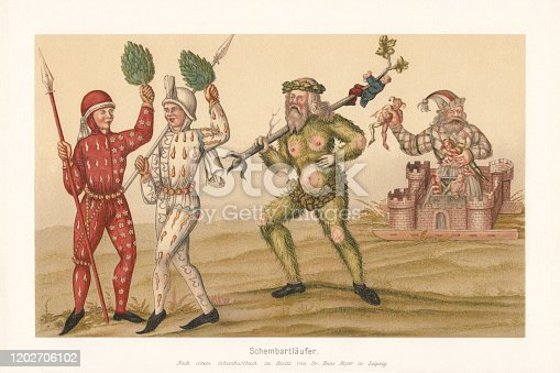 istock Schembartläufer (Schembart runners), Nuremberg, Germany (1449-1539), facsimile (chromolithograph), published 1897 1202706102