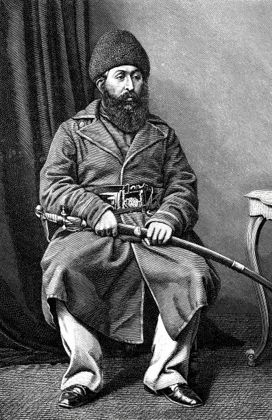 schir ali khan, emir of afghanistan, 1825 - 1879 - old man sitting chair drawing stock illustrations, clip art, cartoons, & icons