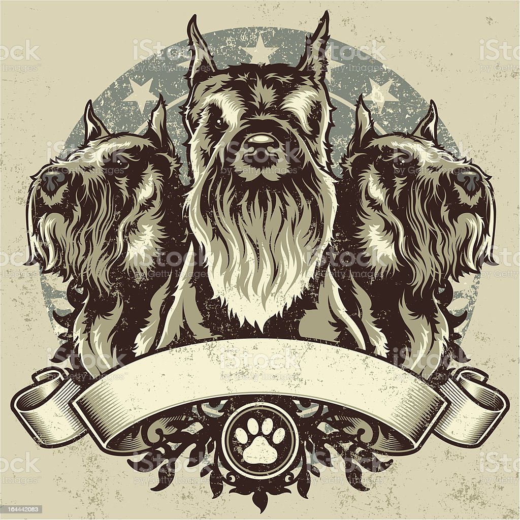 Schnauzer Terrier Crest Design royalty-free stock vector art
