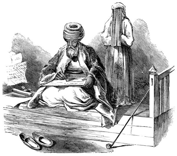 scholar writing arabic in beirut, lebanon - ottoman empire 19th century - beirut stock illustrations
