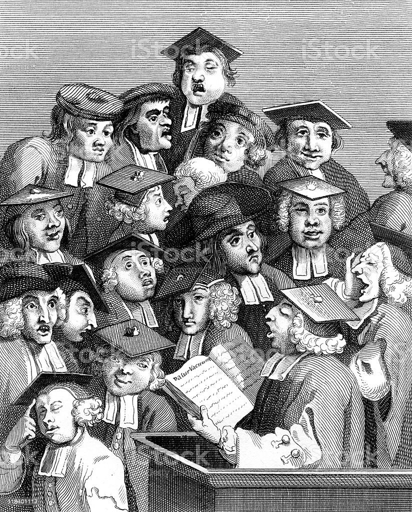 Scholars at a Lecture, by William Hogarth vector art illustration