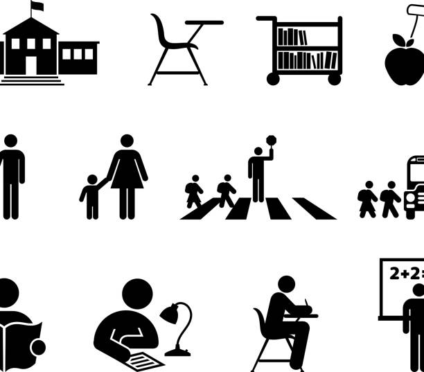 ilustrações, clipart, desenhos animados e ícones de escola e educação em preto e branco, vector conjunto de ícones - aula de redação