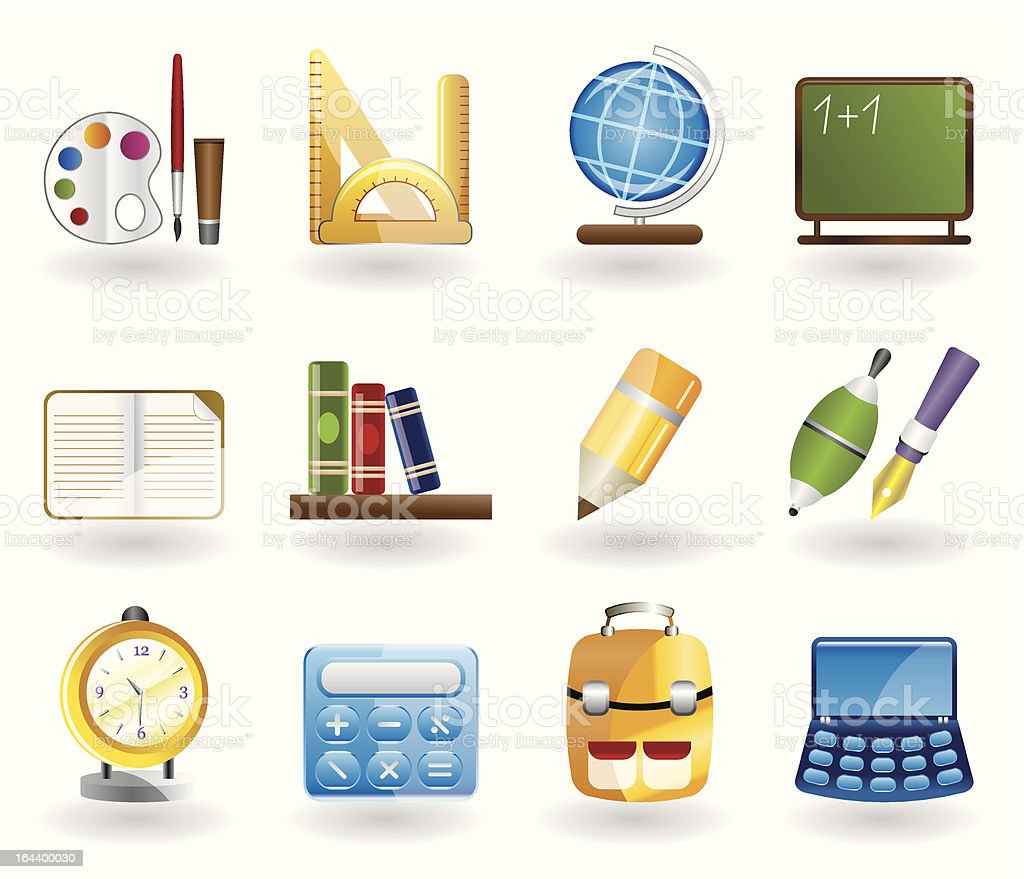 School and education icons royalty-free stock vector art