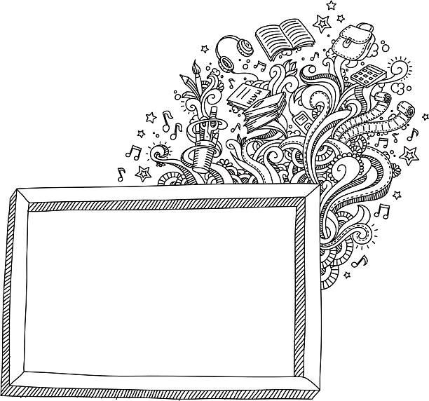 ilustraciones, imágenes clip art, dibujos animados e iconos de stock de escuela pizarra - marcos de garabatos y dibujados a mano