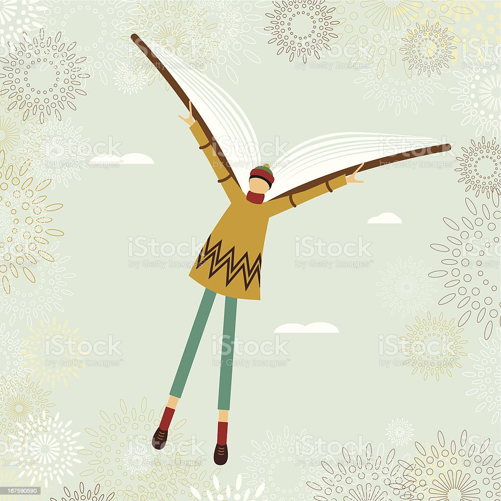 School boy flying with a book vector art illustration
