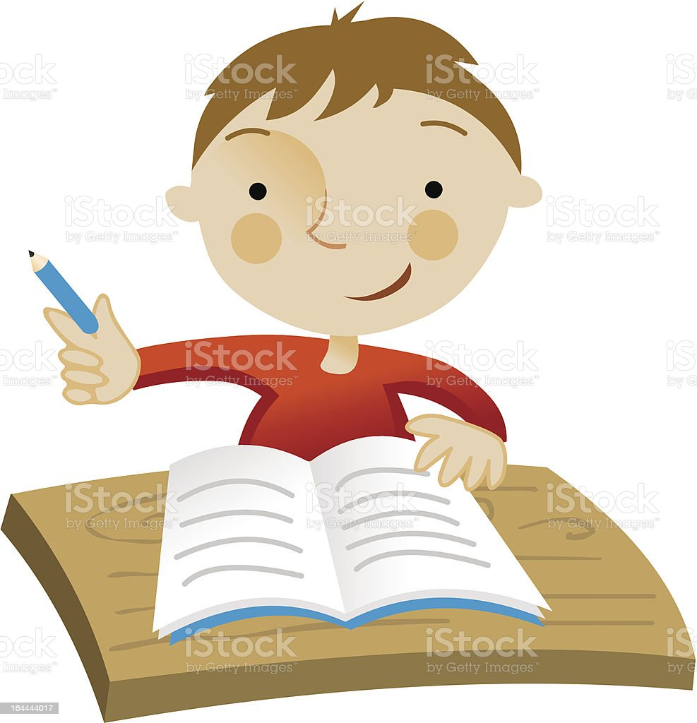 School boy sitting and writing in notebook royalty-free stock vector art