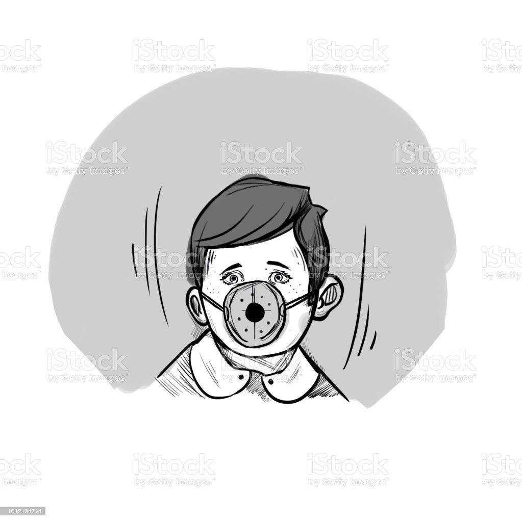 防毒マスク男子生徒喫煙禁止について図面をストーリー ボードし空気汚染