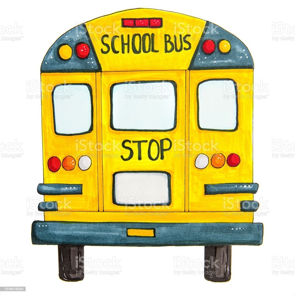 back to school concept. school bus back view isolated on white hand...