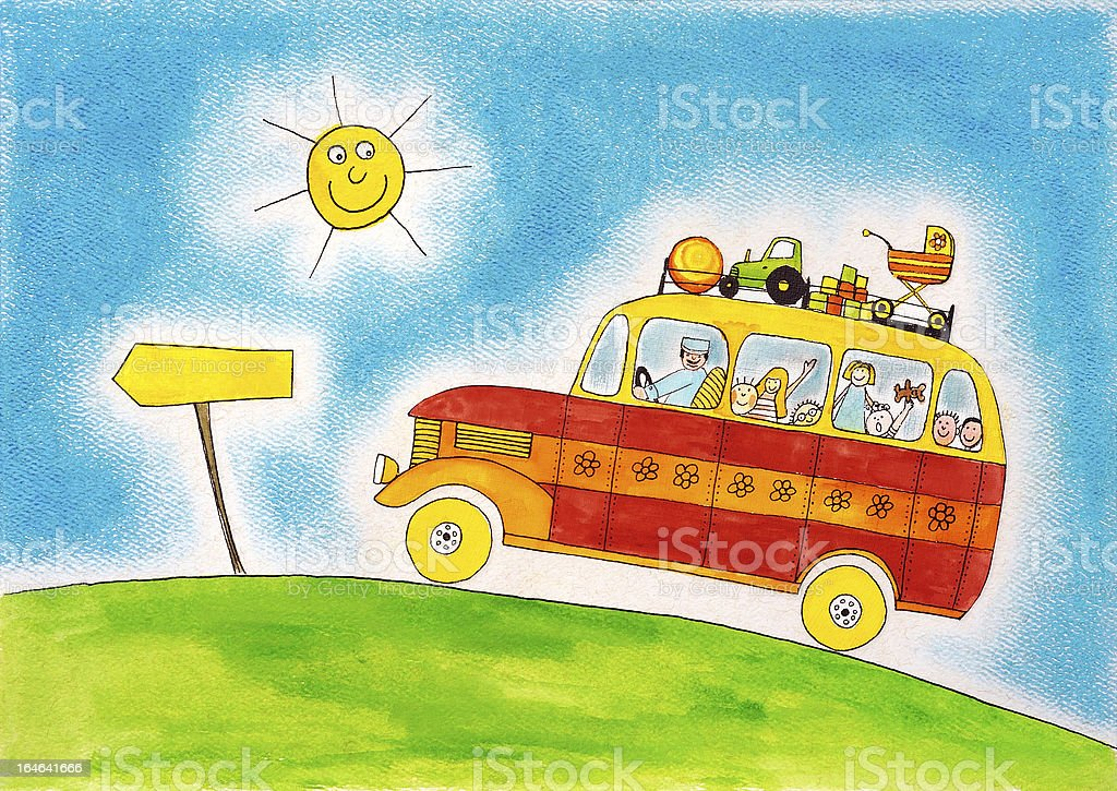 School bus trip, child's drawing, watercolor painting on paper royalty-free school bus trip childs drawing watercolor painting on paper stock vector art & more images of adult