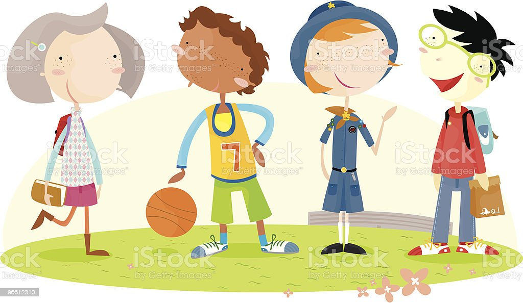 Дети школьного возраста - Векторная графика Girl Scout роялти-фри