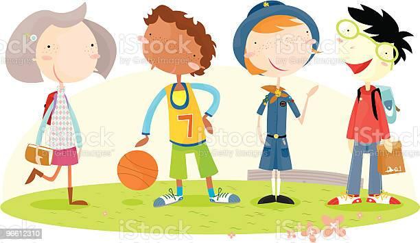 Дети Школьного Возраста — стоковая векторная графика и другие изображения на тему Girl Scout