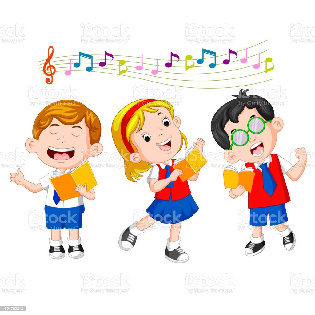 school children singing vector art illustration
