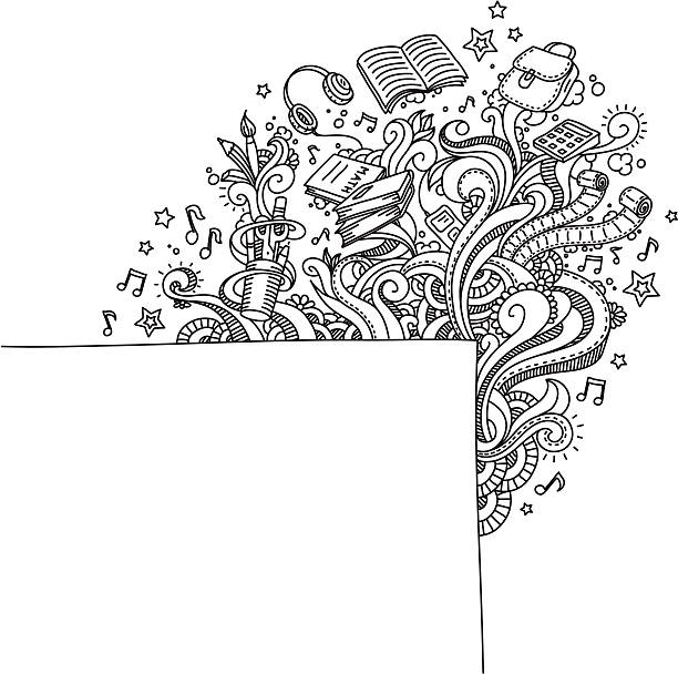 School Doodle vektorkonstillustration