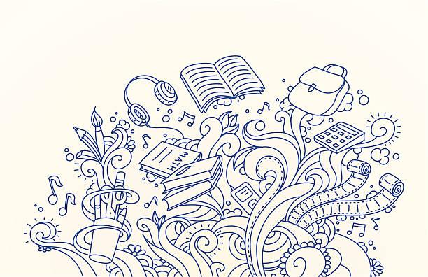 School Doodles School supplies doodle design. book patterns stock illustrations