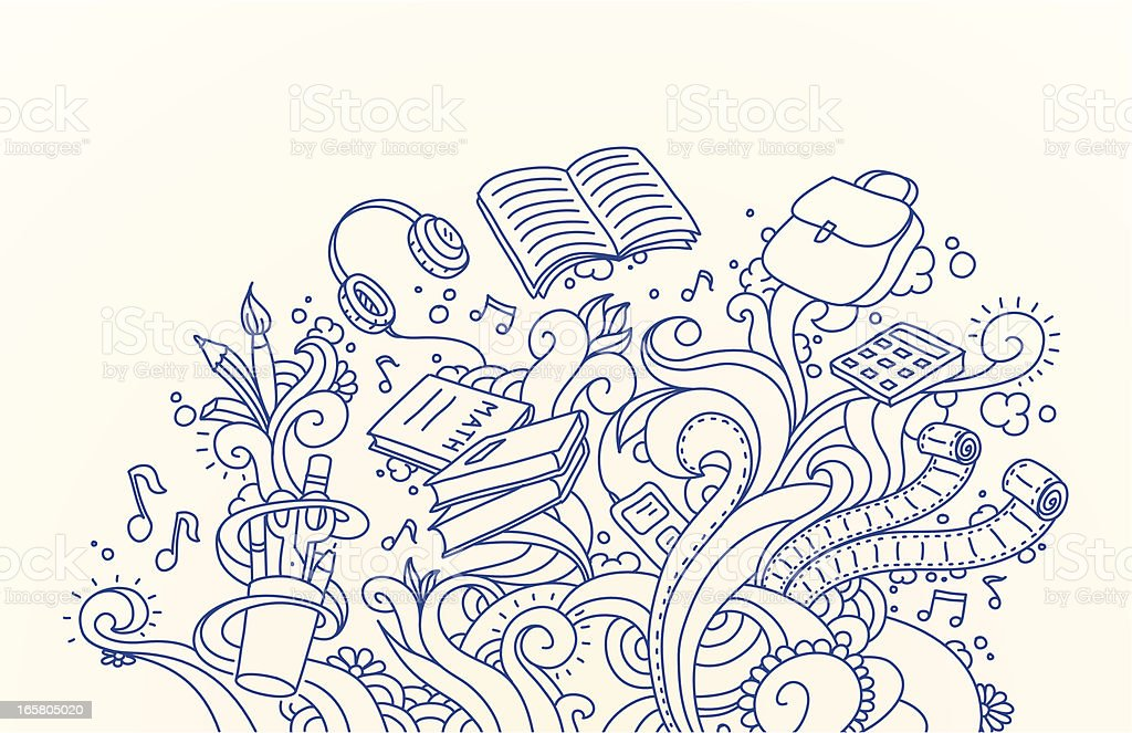 School Doodles vector art illustration