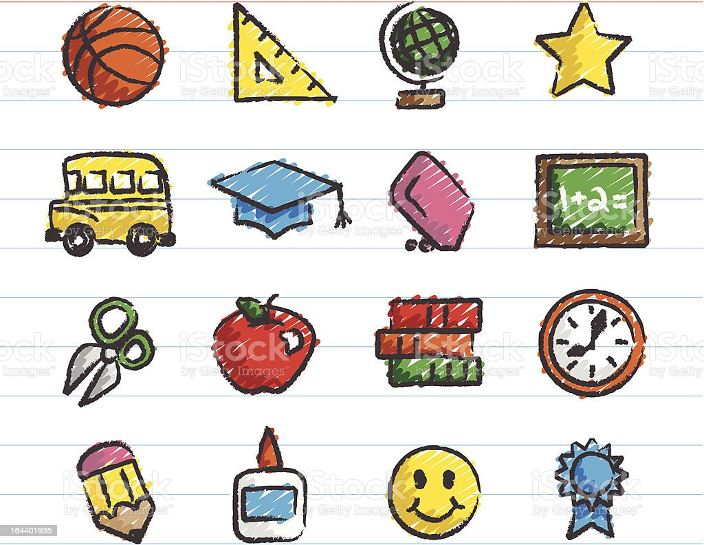 School Icons Drawn with Crayon royalty-free stock vector art