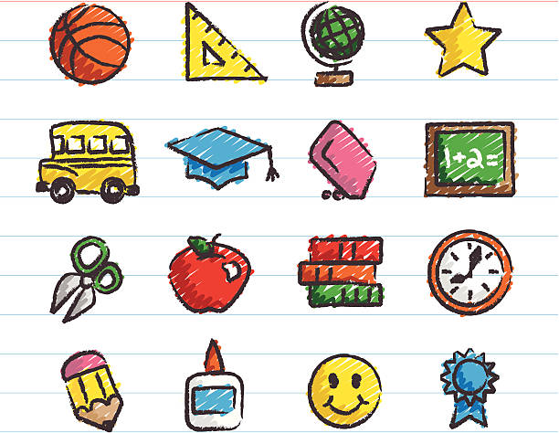 School Icons Drawn with Crayon