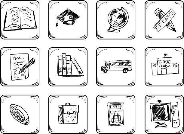 szkoła ikon. - back to school stock illustrations