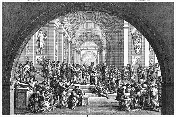 school of athens by raphael - renaissance style stock illustrations, clip art, cartoons, & icons