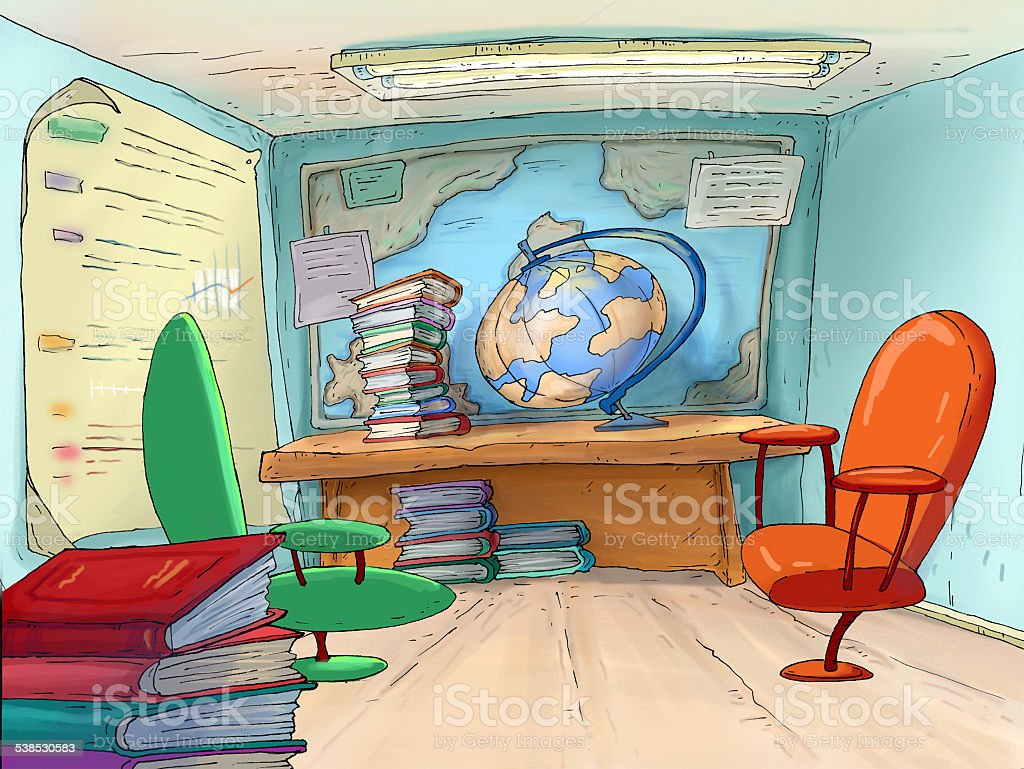 School office. Geography cabinet.Travel Agents. vector art illustration