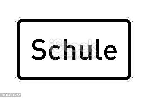 istock School road sign called schule in german language 1283698755