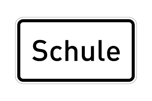 School road sign called schule in german language