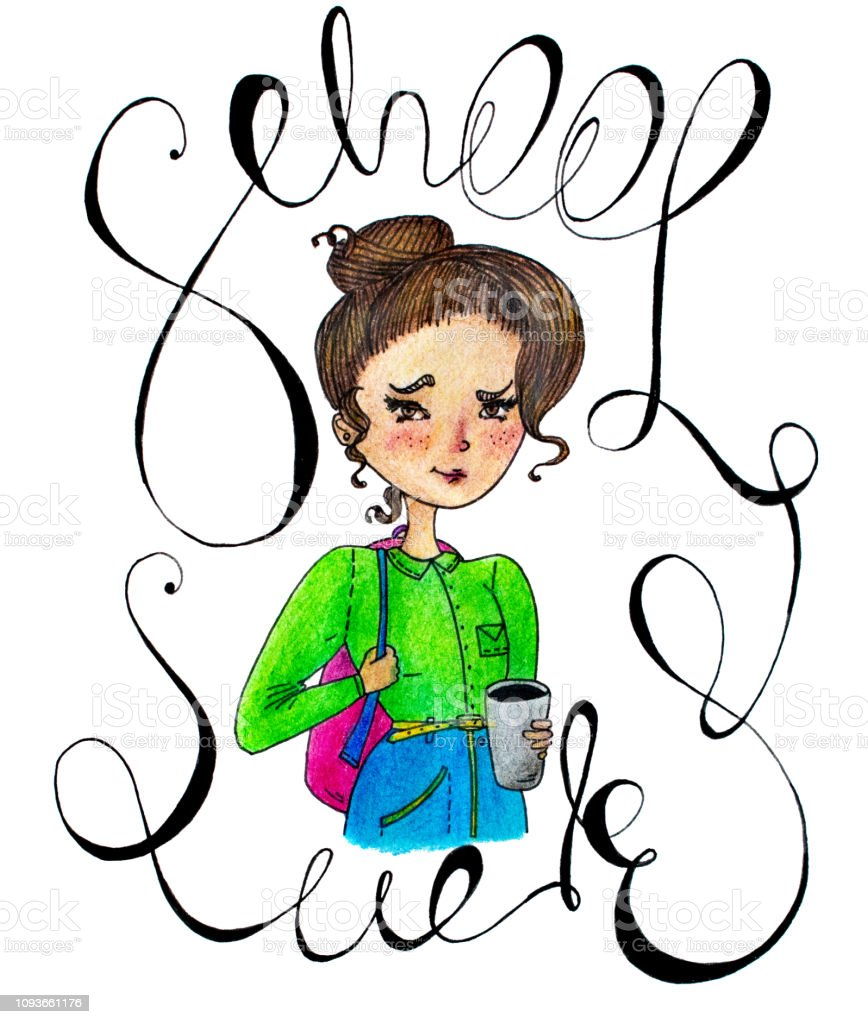 colorful school sucks typography illustration. coloring pencil hand...
