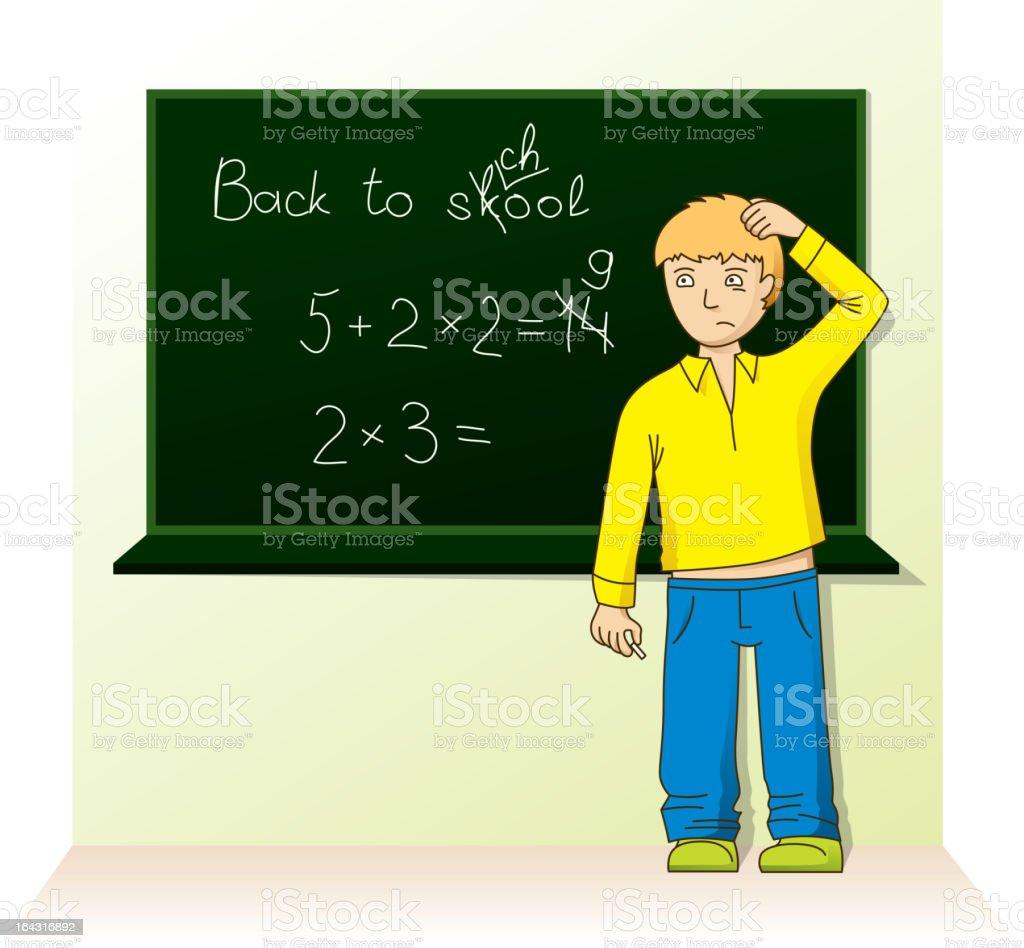 schoolboy near the board royalty-free stock vector art