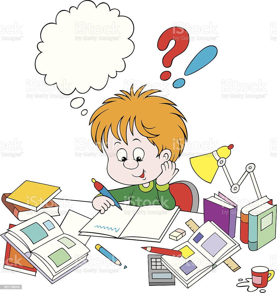 Schoolboy with homework vector art illustration