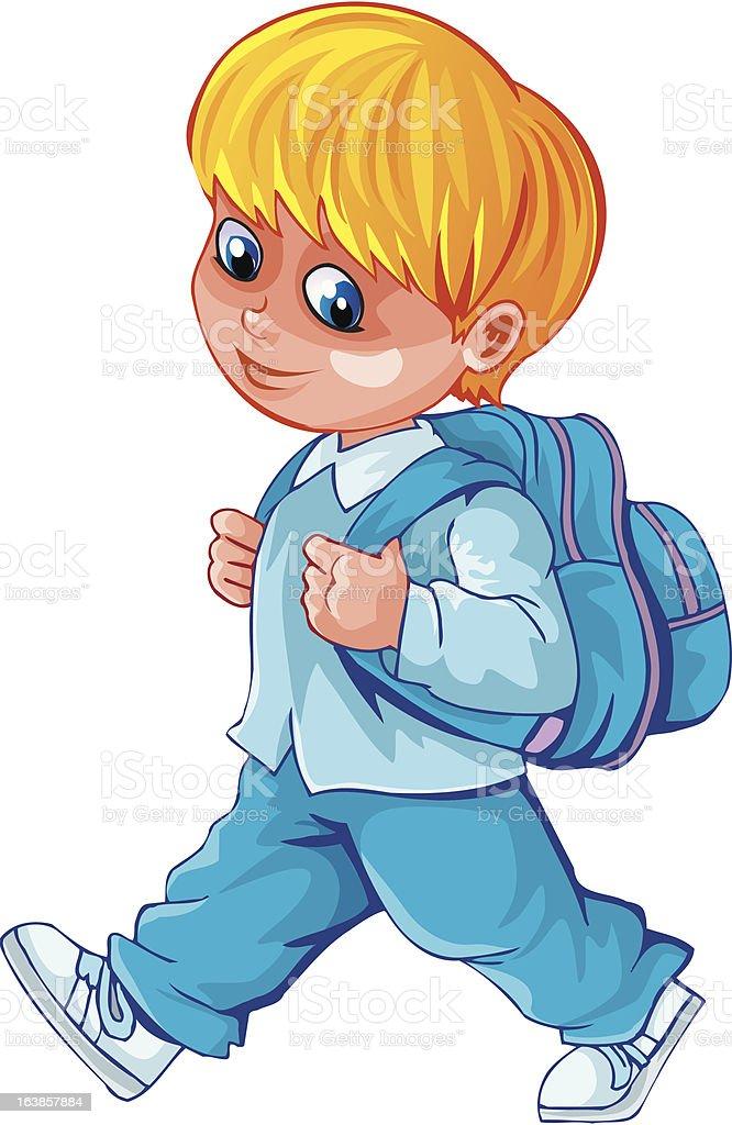 Schoolboy with schoolbag on back vector art illustration