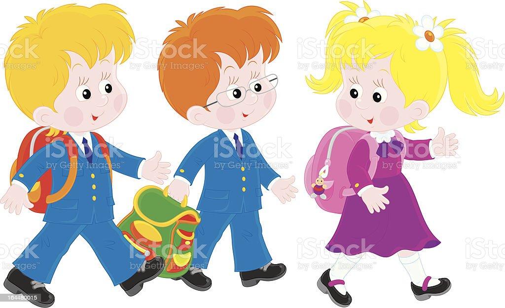 Schoolboys and schoolgirl royalty-free stock vector art